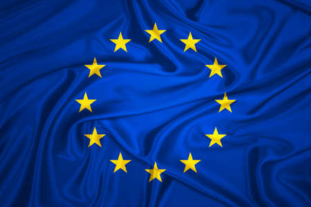european economic community: Flag of the European Union waving with highly detailed textile texture pattern
