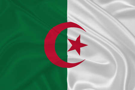 algerian flag: Flag of Algeria  waving with highly detailed textile texture pattern Stock Photo