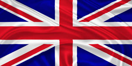 Flag of the United Kingdom  waving with highly detailed textile texture pattern photo