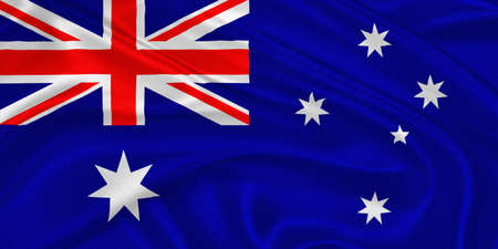 Flag of Australia waving with highly detailed textile texture pattern photo