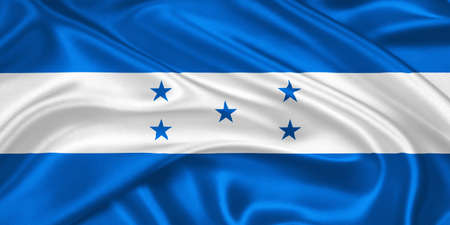 flag of Honduras waving with highly detailed textile texture pattern Stock Photo