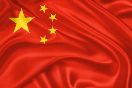 drapeau de la Chine agitant avec un motif tr�s d�taill�e de la texture du textile