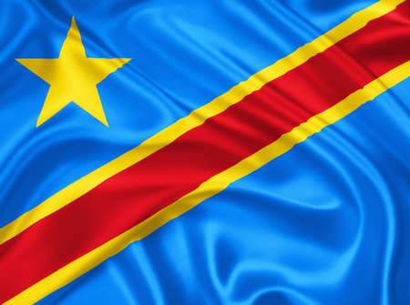 flag of the Democratic Republic of the Congo waving with highly detailed textile texture pattern photo