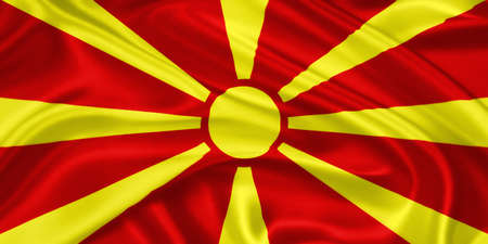 former yugoslavia: flag of   Macedonia waving with highly detailed textile texture pattern Stock Photo