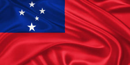 samoa: flag of Samoa waving with highly detailed textile texture pattern