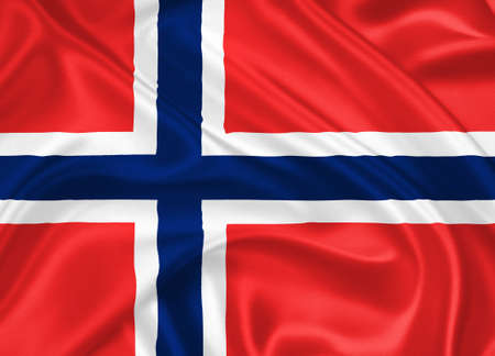 flag of Norway waving with highly detailed textile texture pattern