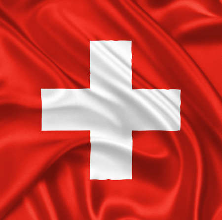 swiss flag: flag of Switzerland waving with highly detailed textile texture pattern Stock Photo