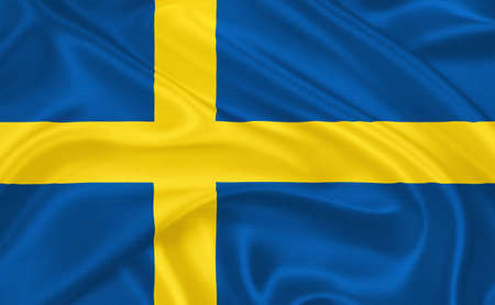 scandinavian peninsula: Flag of  Sweden waving with highly detailed textile texture pattern