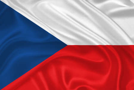 Flag of  the Czech Republic waving with highly detailed textile texture pattern