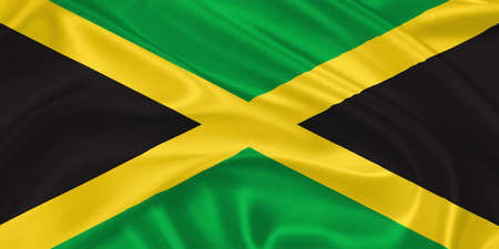 kingston: Flag of  Jamaica waving with highly detailed textile texture pattern Stock Photo