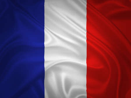 Flag of France waving with highly detailed textile texture pattern photo