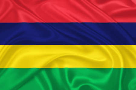 creole: Flag of  Mauritius waving with highly detailed textile texture pattern