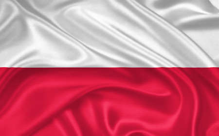 flag of Poland  waving with highly detailed textile texture pattern photo