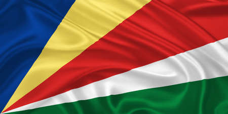 seychelles: Flag of  Seychelles waving with highly detailed textile texture pattern