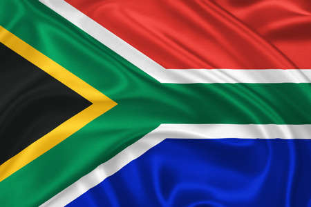 gree: Flag of  South Africa waving with highly detailed textile texture pattern Stock Photo