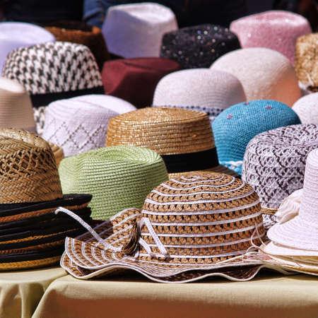 provencal: Panama hats on provencal market Stock Photo