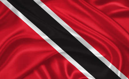 port of spain: flag of Trinidad and Tobago waving with highly detailed textile texture pattern Stock Photo
