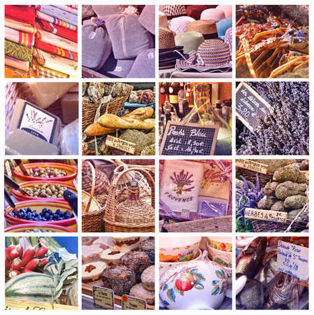 Provence Color Palettes  collage with 16 photos Stock Photo