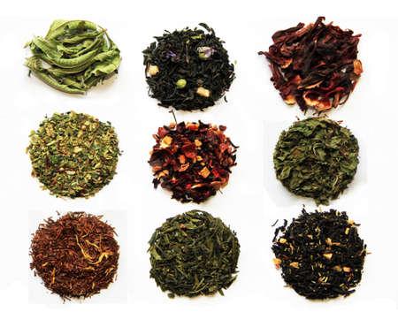 Composition de neuf th�s (vert, noir, � base de plantes, sortes de th� de fleur) isol� sur blanc Banque d'images