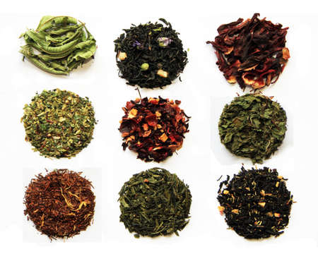 Composition of nine teas (green, black, herbal, flower tea sorts) isolated on white Stock Photo