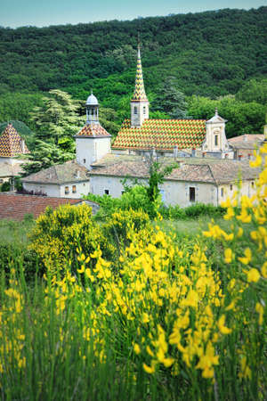 monument historical monument: Monastery of Valbonne founded in 1204 near  Saint Paulet de Caisson in Gard Provencal, south of France ( historical monument) Stock Photo