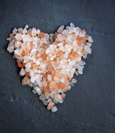himalayan salt: Himalayan salt - pink and orange coarse crystals , heart shape