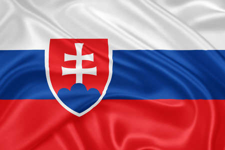 slovakian: flag of Slovakia waving with highly detailed textile texture pattern