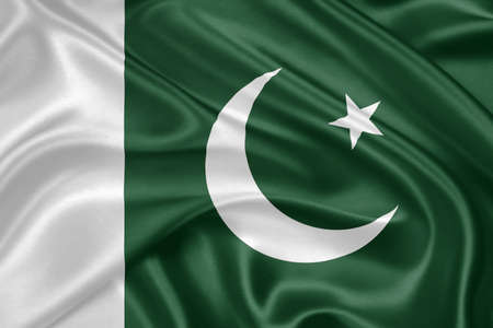islamabad: flag of Pakistan waving with highly detailed textile texture pattern