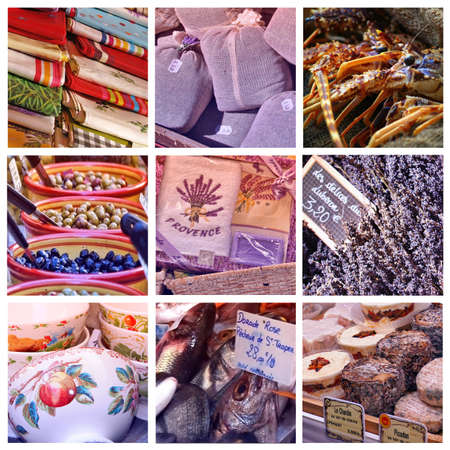 Provence market collage with 9 photos