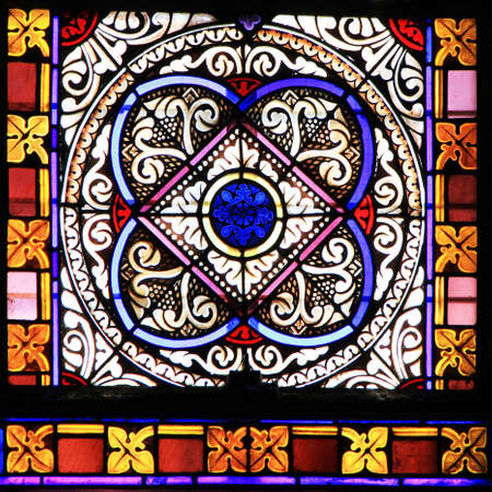 stained: Colourful seamless stained glass window panel  in Chusclan, France