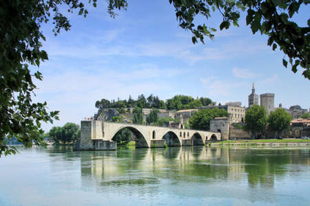 Avignons bridge and The Popes Palace in Avignon, France