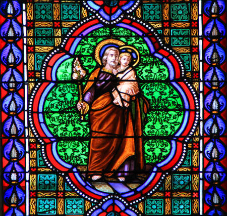 Colourful seamless stained glass window panel  in Chusclan, France photo