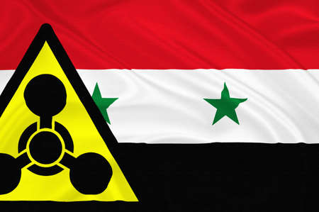 chemical weapons: Flag of Syria with the chemical weapons sign  waving with highly detailed textile texture pattern representing the chemical attack Inside the Damascus suburb
