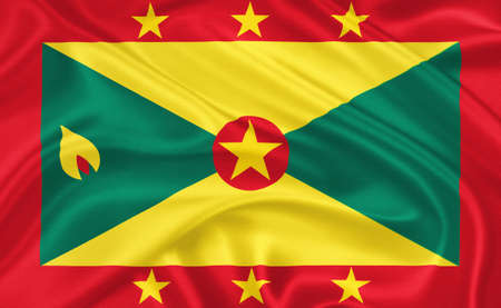 saint george: Flag of  Grenada waving with highly detailed textile texture pattern