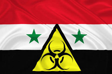chemical weapon symbol: Flag of Syria with the chemical weapons sign  waving with highly detailed textile texture pattern representing the chemical attack Inside the Damascus suburb