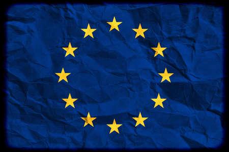 eurozone: European flag on the creased paper: euro zone crisis Stock Photo