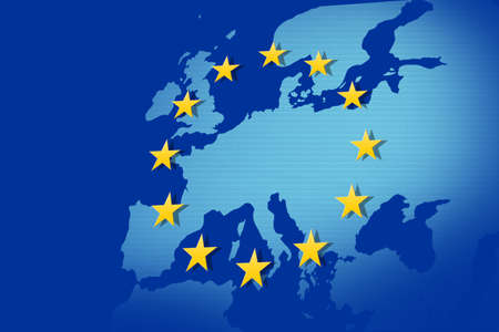 European Union: flag and map Stock Photo