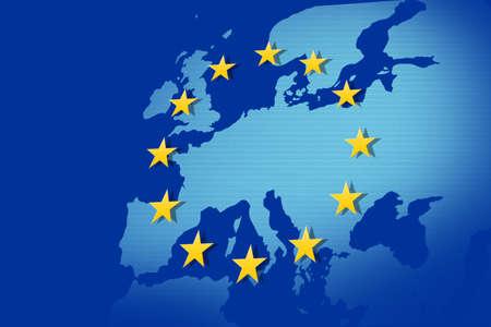 zone euro: Union europ?enne: drapeau et carte