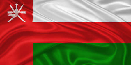 southwest asia: Flag of  Oman waving with highly detailed textile texture pattern