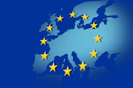 eurozone: European Union  flag and map
