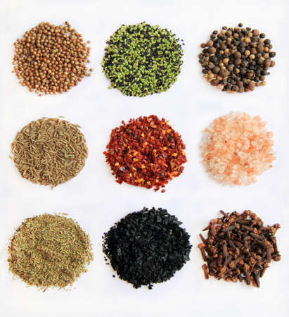 From left to right and up to down: Black Peppercorn,  himalayan salt,  clove,  sesame  ,  espelette chili, Provencal Herbs, coriander, cumin, black salt,