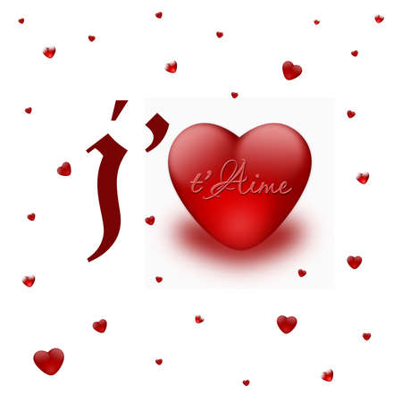 I love you with red hearts card on valentine photo