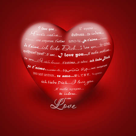 roundish: Illustration of I love you in different languages of red heart