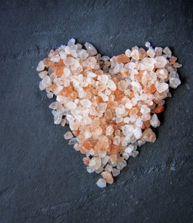 Himalayan salt - pink and orange coarse crystals , heart shape
