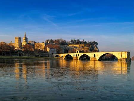 Avignon bridge and The Popes Palace in Avignon, France
