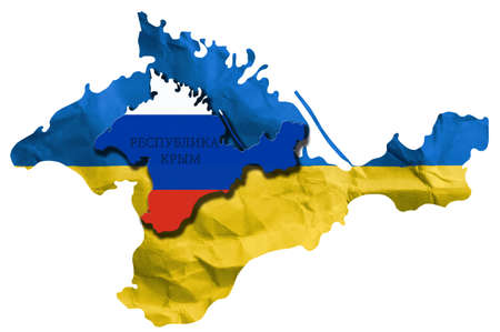 separatism: Ukraine crisis  Crimea votes to join Russia, the map of Crimea on creased paper