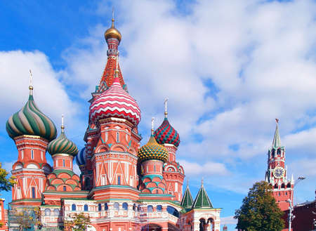 Red Square, Moscow, Russia  Saint Basil Cathedral and clock tower