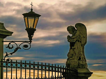 lampe: Architectural detail in front of the Popes Palace in Avignon, france Stock Photo