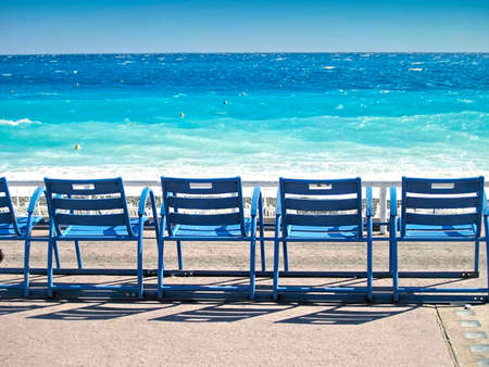 nice  france: Three Deck Chairs in front of the sea, Nice, France
