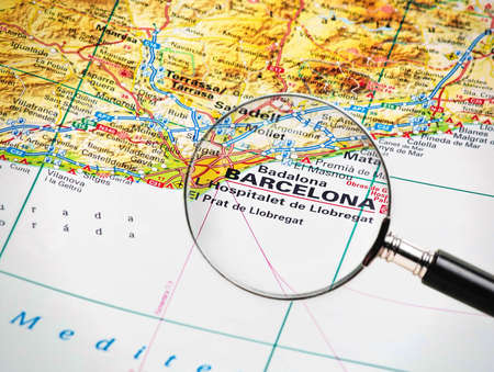 Focus on Barcelone on the Map  Source   the big World atlas  photo